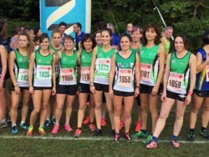 Du monde en vert sur le départ, à noter la 3ème place junior d'Axelle Marie !